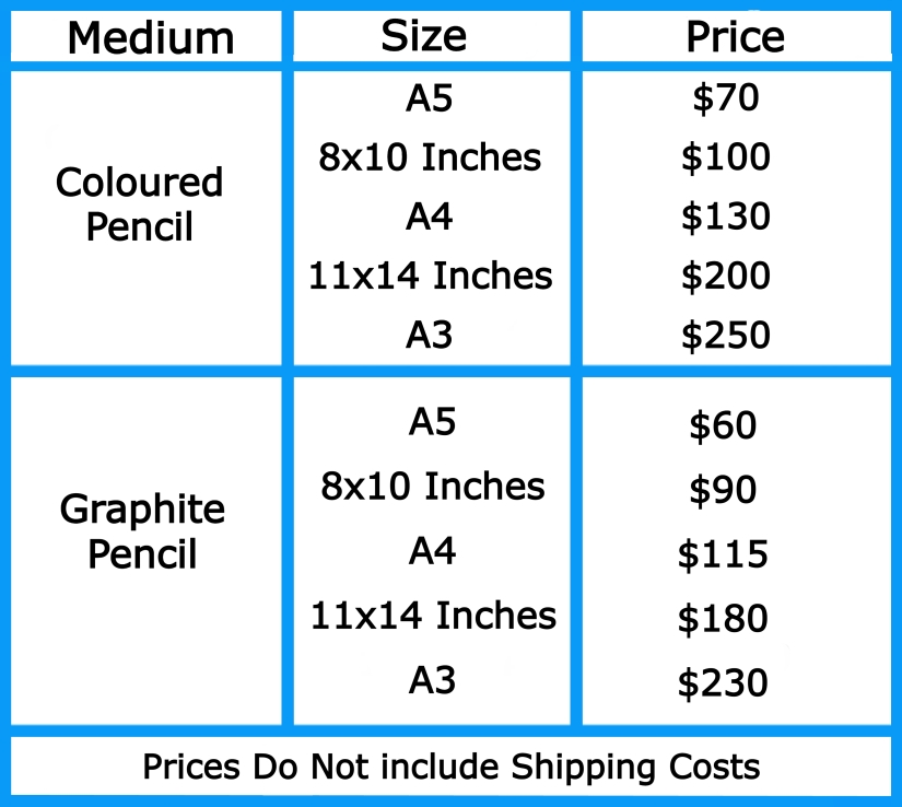 Pet Portrait Prices 2021 without header