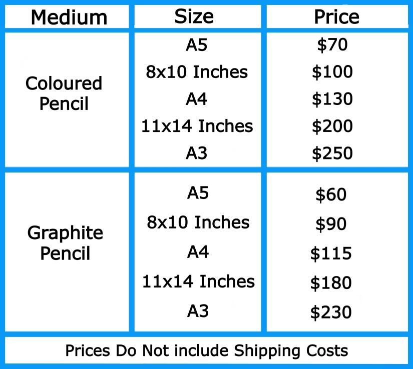Pet Portrait Prices 2021 without header